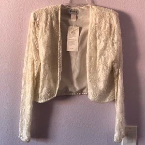 Vintage new cream Stenay lace jacket with sequins